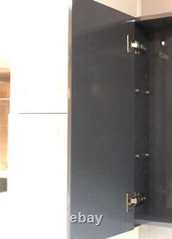 100% Waterproof 600mm Mirrored Cabinet Dark Gloss Grey Wall Mounted Storage Unit