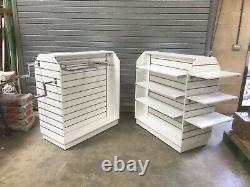 10 X WHITE FREESTAND Heavy Duty Retail Shelf Rail DISPLAY Unit With Shelf +Castors