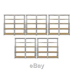 10 x Galvanised Shelving MDF Shelves Heavy Duty Metal Racking Storage 5 Tier Bay