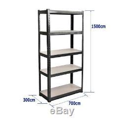 (1500 x 700 x 300) mm Heavy Duty Storage Racking 5 Tier Black Shelving Boltles