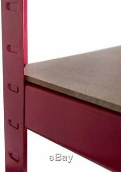 (1500 x 700 x 300) mm Heavy Duty Storage Racking 5 Tier Red Shelving Boltless