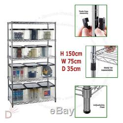150X75X35cm Real Chrome Wire Heavy Duty Metal Steel Shelving Shelf Racks UKDC