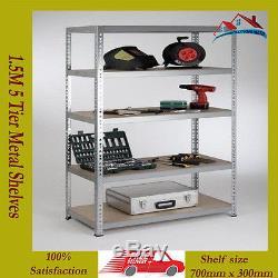 1.5m Heavy Duty 5 Tier Boltless Metal Shelving Shelves Storage Unit Shelf New