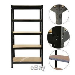 1-6 Bay Black Metal Shelving Unit Heavy Duty 5 Tier Shelf Steel Racking Shelves