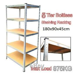 1.8M Heavy Duty Metal Galvanised Shelving Rack Unit 5 Tier Garage Storage Shelf