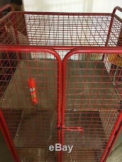 1 X Red Mesh Sided Rolling Cage Shelf Trolley-2 Doors-heavy Duty