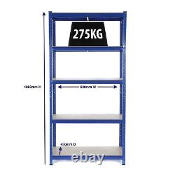 25 x Heavy Duty Steel Shelving Units 5 Tier Metal Garage/Storage Racks 275kg UDL