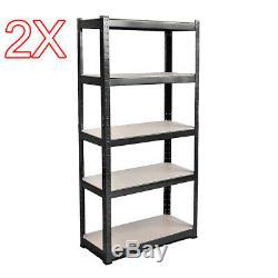 2X (1500 x 700 x 300 mm) Work Rack Boltless Storage Heavy Duty Shelve 5 Tier B