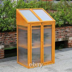 2 Shelves Wooden Garden Cold Frame Greenhouse Protection Raised Plants Bed Boxes