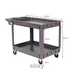 2-tier Heavy-duty Plastic Service Cart Utility Trolley Cart withShelve Wheels Grey