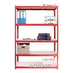 2 x Red Metal Garage Shelves Shelving Heavy Duty Racking Storage 180x120x45cm
