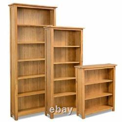 3/5/6-Tier Bookcase Bookshelf Solid Oak Wood CD-Display Shelving Unit Storage UK