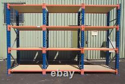 3 Bay Used PSS Heavy Duty Longspan Warehouse Storage Shelving Racking 2.5M Tall