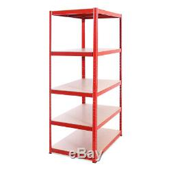 3 Bays Red Metal Garage Shelves Shelving Heavy Duty Racking Storage 180x90x60cm