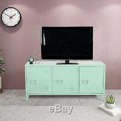 3 Doors Metal File Locked Storage Cabinet Green Console TV Stand for Office Home
