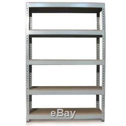 3 Garage Shelves Shelving 5 Tier Racking Boltless Heavy Duty Storage Shelf 120cm