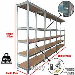 3 Racking Bays 5 Tier Boltless Garage Shelving Unit Storage Rack Heavy Duty