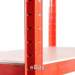 3 x Red Metal Garage Shelves Shelving Heavy Duty Racking Storage 180x120x45cm