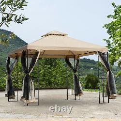 3x3(m) Outdoor Gazebo Patio Pavilion Canopy Tent with Netting & Shelf 2-tier Roof