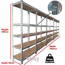4 Bays 5 Tier Heavy Duty Boltless Metal Steel Shelving Storage Unit Industrial