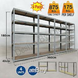 4 Garage Shelving Racking Bays 5 Tier Unit EXTRA HD Racking Shelves Storage Shed