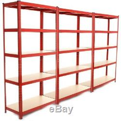 4 Heavy Duty Shelving Racking Garage 5 Tier Storage Units Metal Shelves Bays