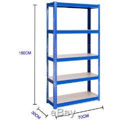 4 Pack 5 Tier Metal Shelving Unit Storage Racking Shelves Garage Warehouse Shed