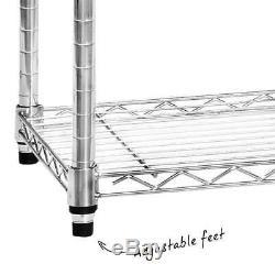 4 Shelf Chrome Wire Shelving Unit 1800mm Tall Racking Heavy Duty Storage