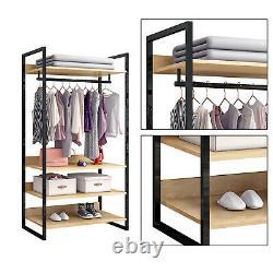 4 Shelves Clothes Storage Open Wardrobe Clothes Closet Organizer Garment Rack