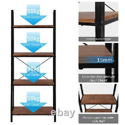 4-Tier Ladder Shelf Bookcase Bookshelf Plant Flower Stand Storage Metal Frame