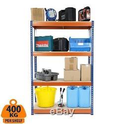 4 Tier Steel Shelving Heavy Duty Garage Storage Racking Blue & Orange 400KG UDL