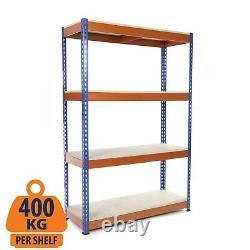 4 Tier Steel Shelving Heavy Duty Garage Storage/Racking Blue & Orange 400KG UDL