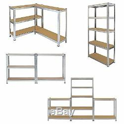 4 x 1.8m Tall Silver 5 Tier Heavy Duty Galvanised Boltess Metal Shelving Unit