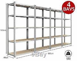 4 x EAZILIFE 1.8m Tall Silver 5 Tier Heavy Duty Boltess Metal Shelving Unit