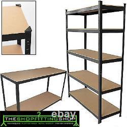 4 x Heavy Duty Boltless Shelving Rack 5 Tier Home Warehouse Shop Display Garage