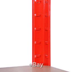4 x Red Metal Garage Shelves Shelving Heavy Duty Racking Storage 180x90x45cm