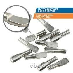 50 Pack 3MM Shelf Pin Spoon Shaped Cabinet Support Pegs Holder Metal Nickel