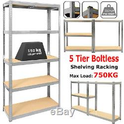 5 Bays 5 Tier Garage Shelving Racking Unit Storage Racks Heavy Duty Steel Shelf