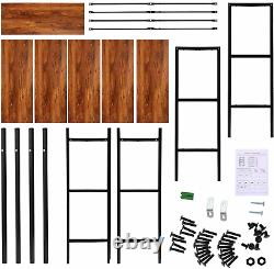5-Layes StoryShelf Solid Wood Storage Unit Wooden Bookcase Metal Frame Bookshelf