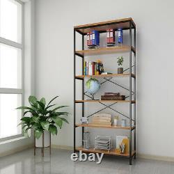 5-StoryShelf Solid Wood Storage Unit Wooden Bookcase Metal Frame Bookshelf NICE