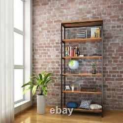 5-Story Solid Wood Storage Shelf Unit Wooden Bookcase Metal Frame Bookshelf NICE
