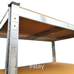 5 Tier (180cm x 90cm x 30cm) Heavy Duty Metal Galvanised Shelving Rack Unit UKDC