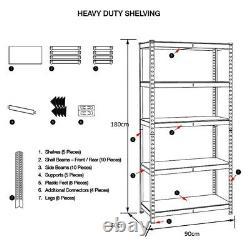 5-Tier (180cm x 90cm x 60cm) Heavy-Duty Metal Galvanised Shelving Rack Unit S247