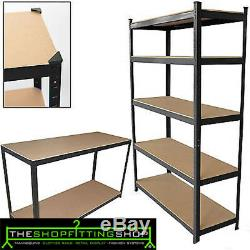 5 Tier Garage Shelving Rack Heavy Duty Boltless Storage Shelf Shed Green House