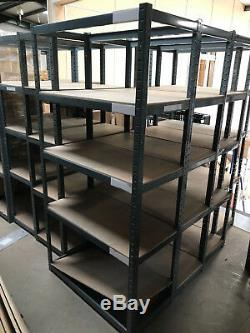 5 Tier Grey Metal Shelving Industrial Storage Unit Racking Heavy Duty Shelves