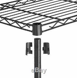 5-Tier Heavy Duty Black Stainless Steel Adjustable Shelf Rack on Caster Wheels