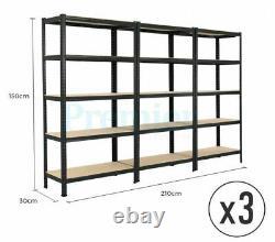 5 Tier Heavy Duty Steel Metal Shelving 3 Bay Racking Industrial Garage Shelf