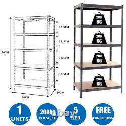 5 Tier Metal Heavy Duty Garage Storage Shelf Shelves Units Boltless 180x90x60cm