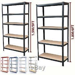 5 Tier Metal Shelving Unit Heavy Duty Boltless Industrial Shelves Storage Garage