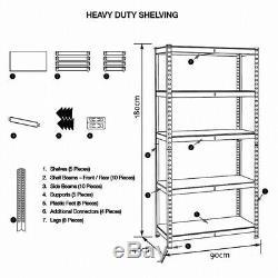 5 Tier Racking Shelf Garage Shelving Heavy Duty Storage Shelves Unit 180x90x40cm